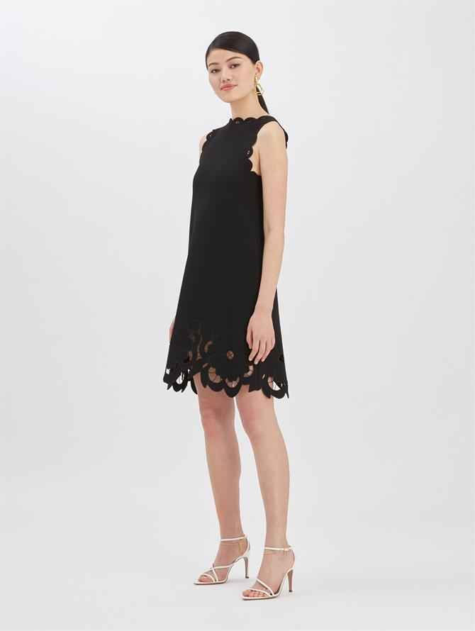 Floral Cut Knit Dress Black