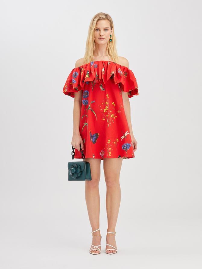 Botanical Garden Ruffle Dress Scarlet