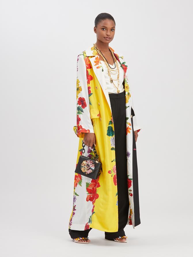 Floral Stripe Silk Coat Ivory Multi