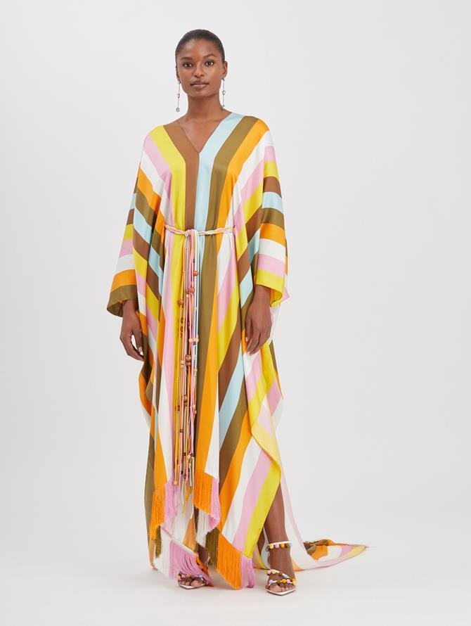 Striped Silk-Twill Caftan Begonia Multi