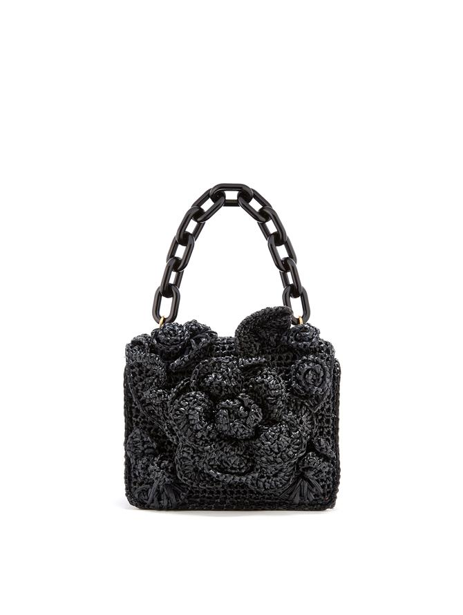 Black Raffia Mini TRO Bag