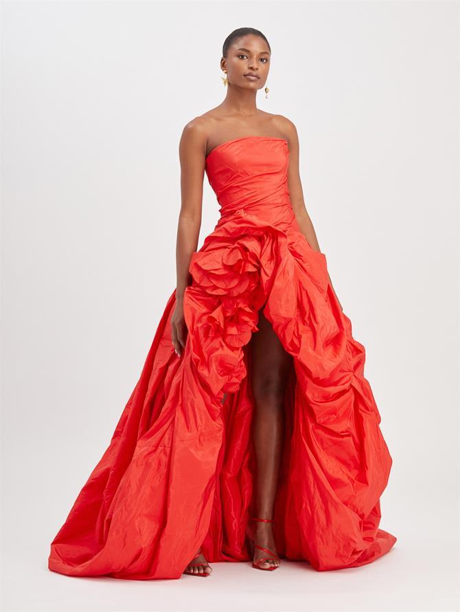 Scarlet taffeta strapless ruffle gown