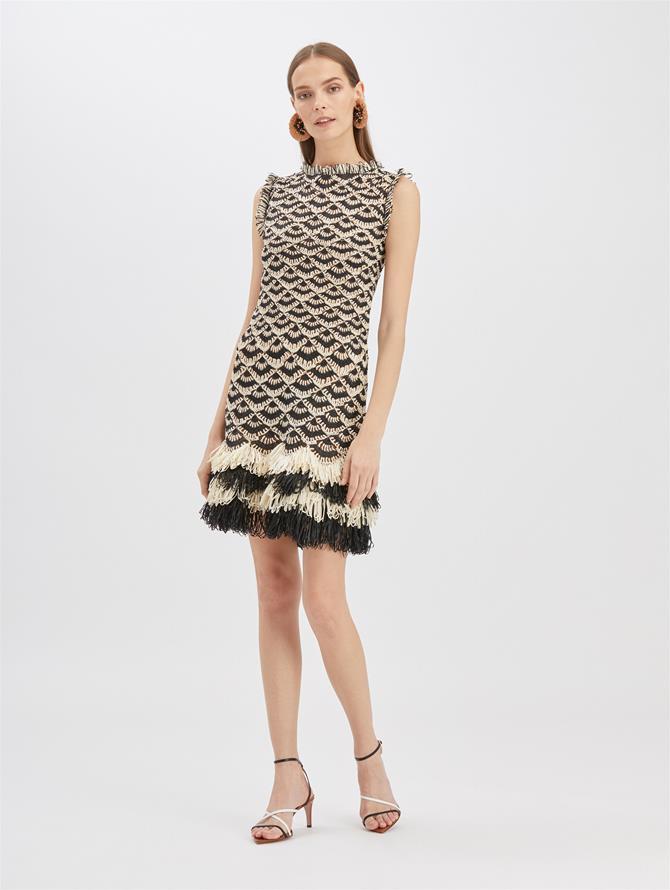 Stripe Raffia Mini Dress Ivory/Black