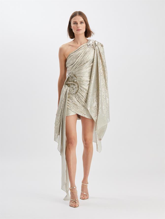 Draped Silk Dress Silver