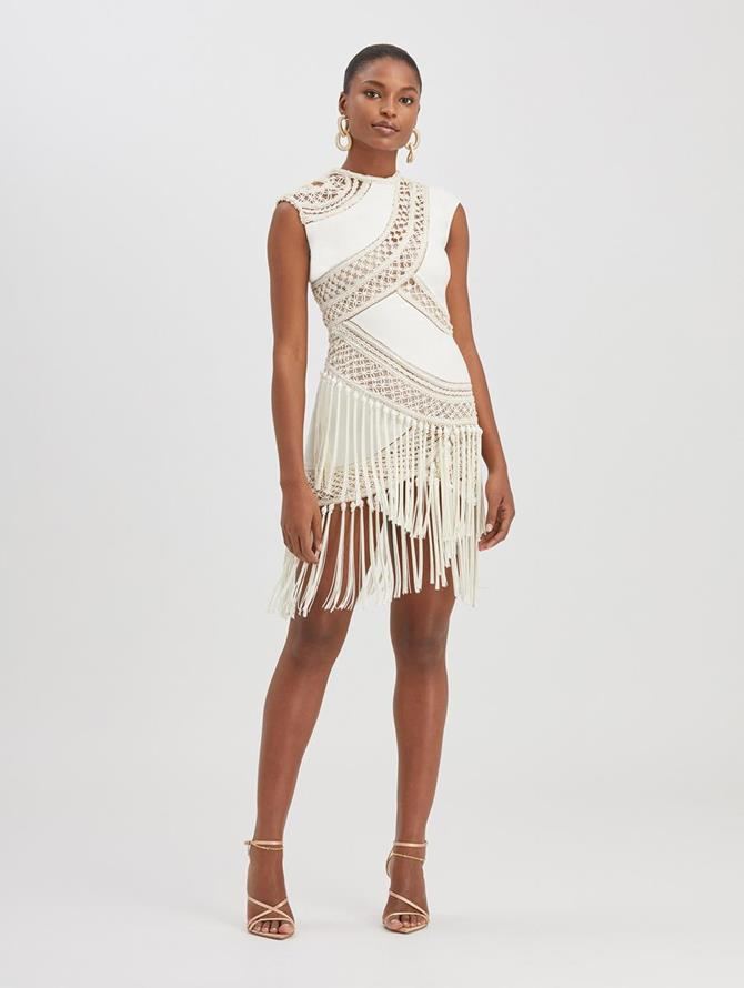 Embroidered Layered Dress Ivory