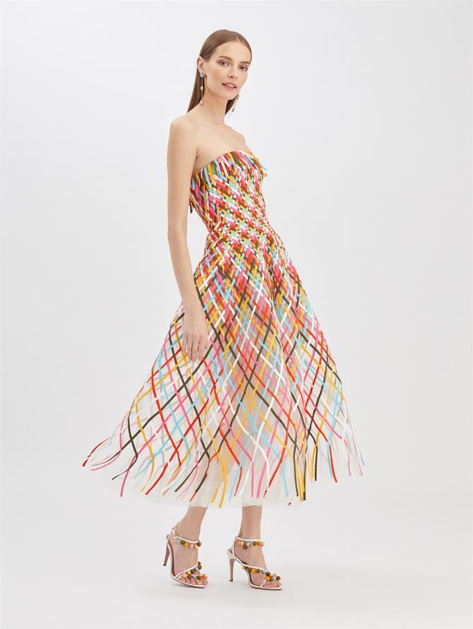 Multicolor Lattice Tulle Dress Ivory