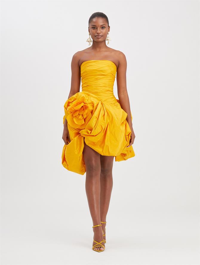Strapless Silk-Taffeta Cocktail Dress Saffron
