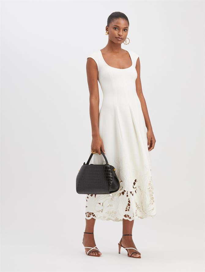 Embroidered Cady Midi Dress  Ivory