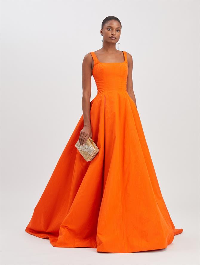 Moire Faille Sleeveless Gown Burnt Orange