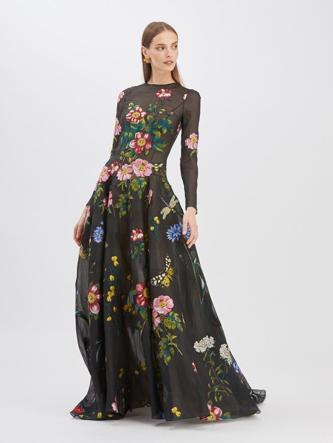 Fil Coupé Long Sleeve Gown Black