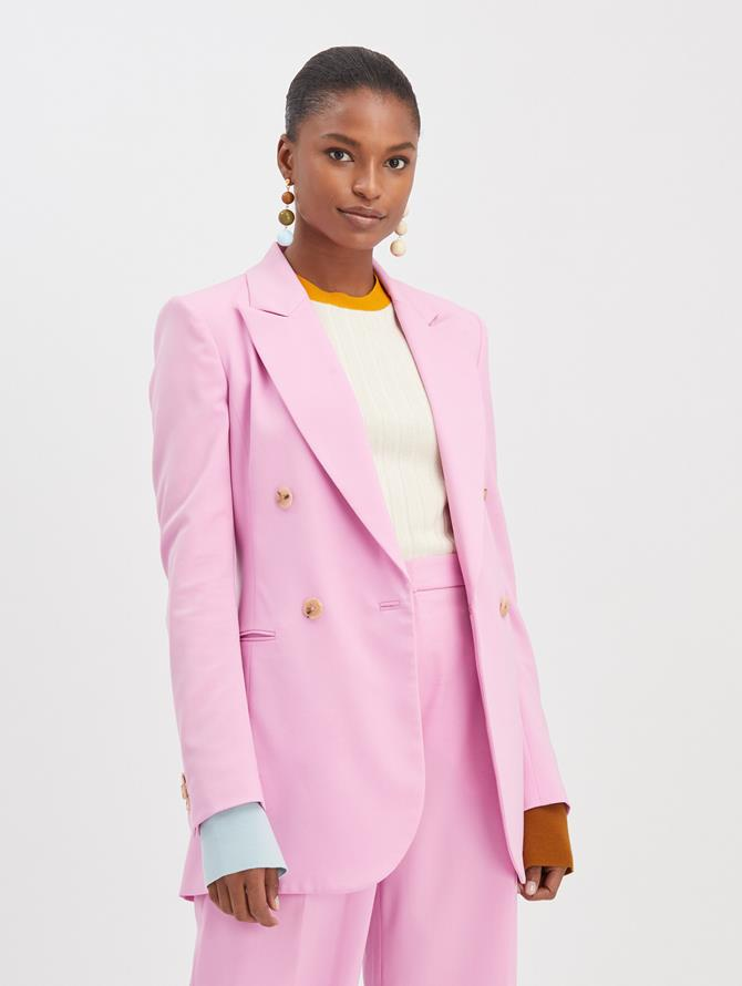Crepe Double Breasted Blazer Begonia