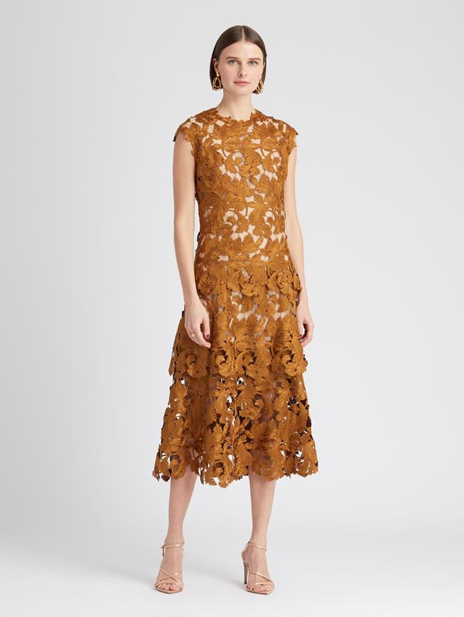 Guipure Layered Midi Dress Bronze