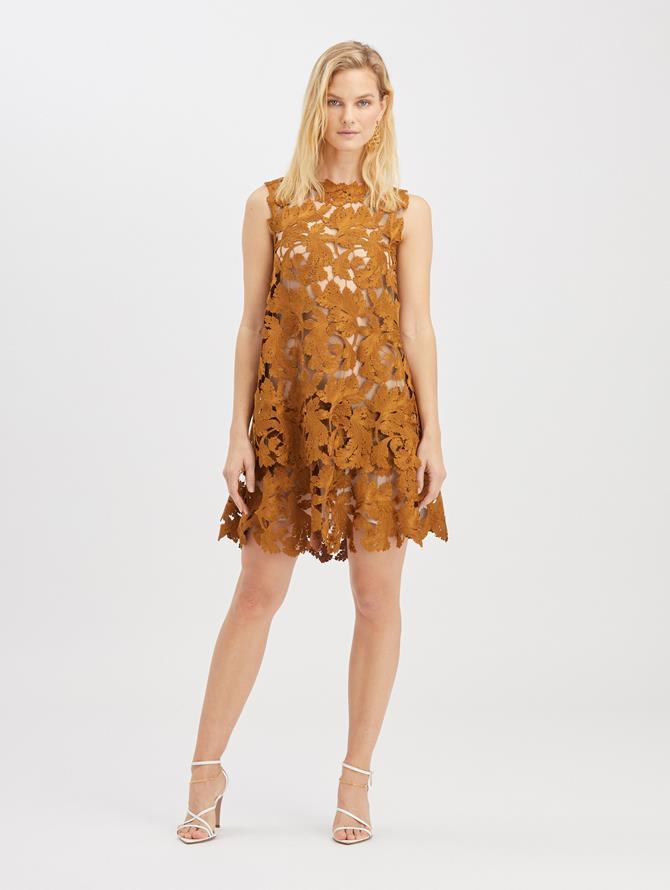 Guipure Mini Dress  Bronze