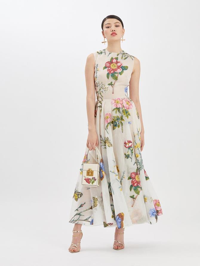 Fil Coupé Printed Midi Dress