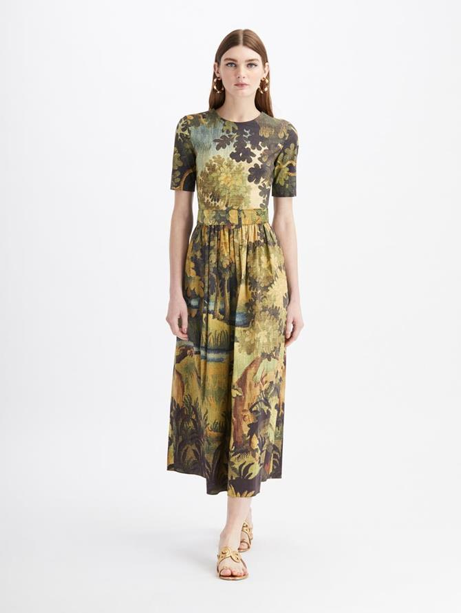 Landscape Midi Day Dress Hunter Multi