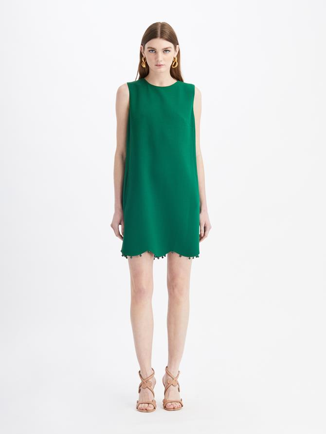 Stretch Wool-Crepe Mini Dress Evergreen