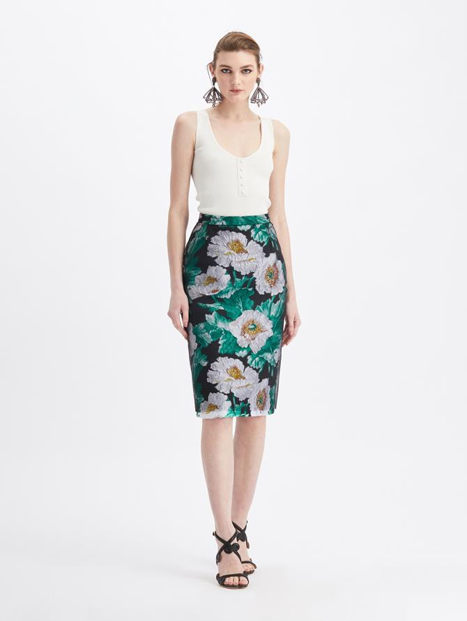 Fil Coupé Midi Skirt  Black/White
