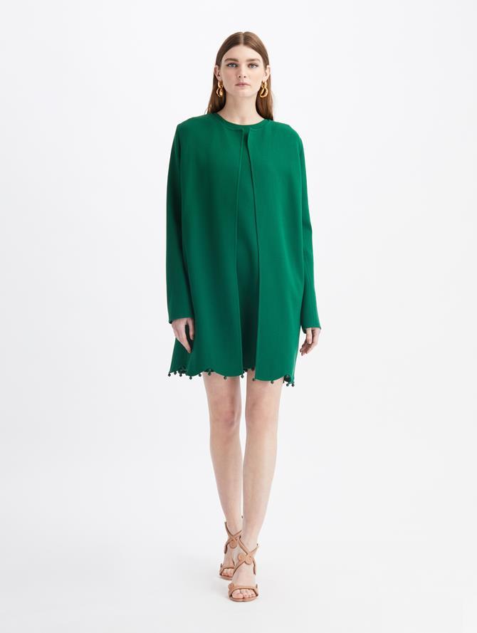 Scalloped-Hem Wool Suit Coat  Evergreen