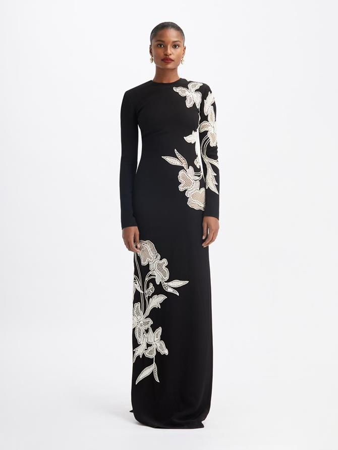 Floral Embroidered Long Sleeves Gown Black