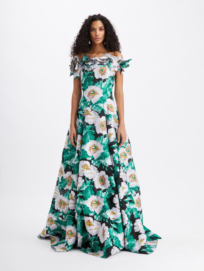 Floral Off Shoulder Embroidered Gown Black/Ivory