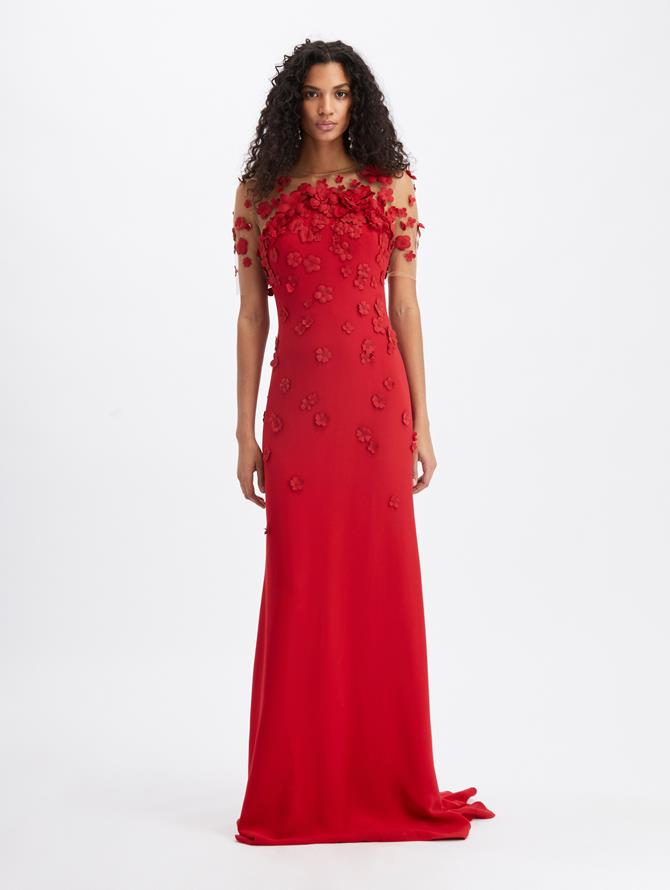 Cady Short Sleeve Gown With Floral Embroidery