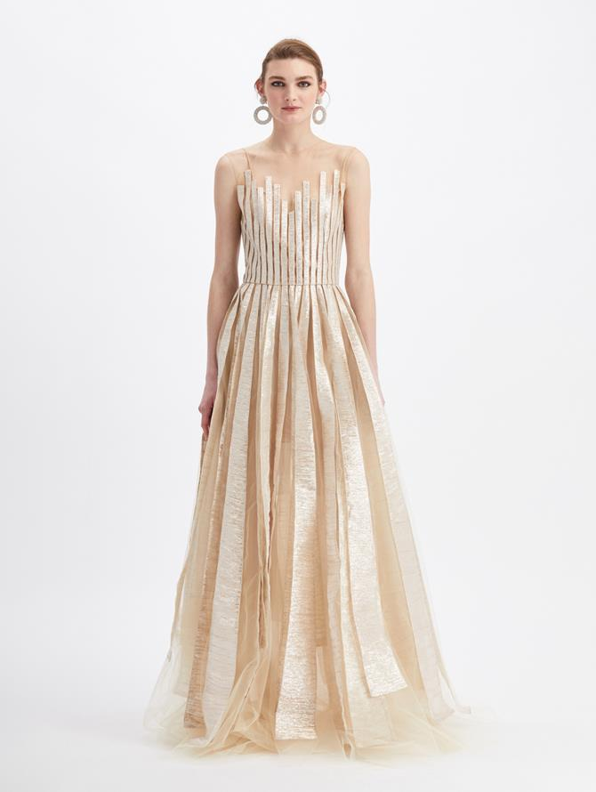 Tulle Sleeveless Sheer Neck Embroidered Gown