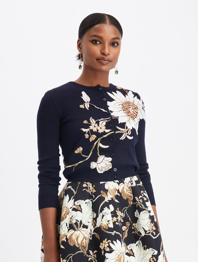 Floral Embroidered Cardigan Navy