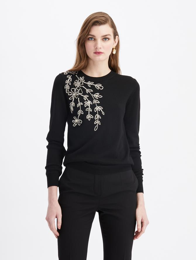 Crewneck Embroidered Knit Sweater