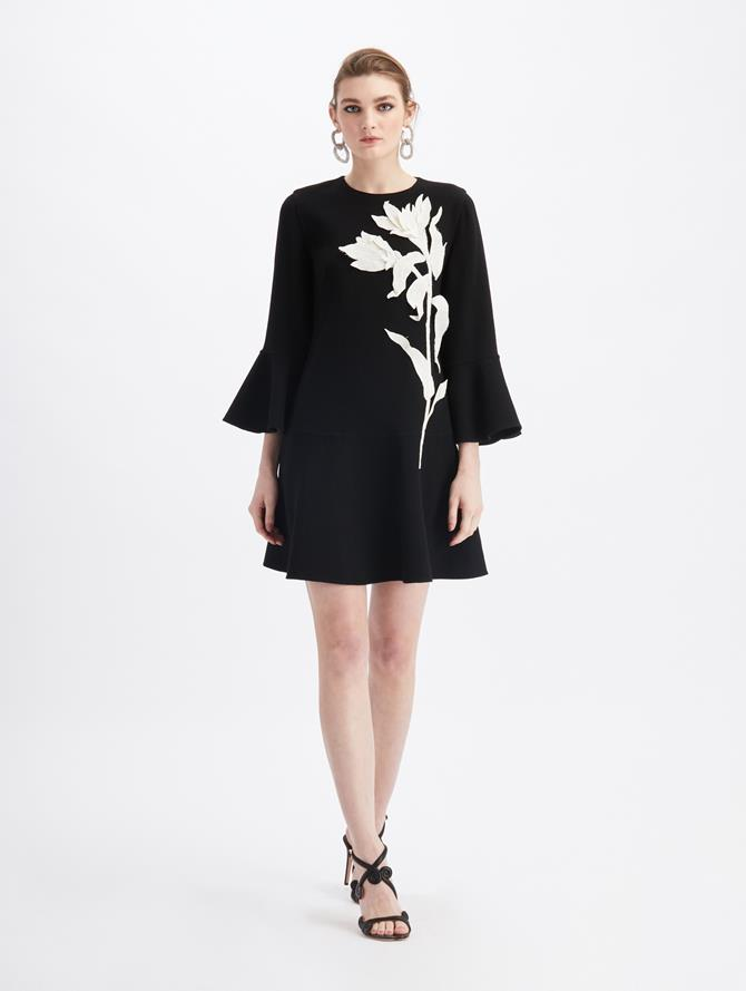 Stretch-Wool Long Sleeve Embroidered Dress Black
