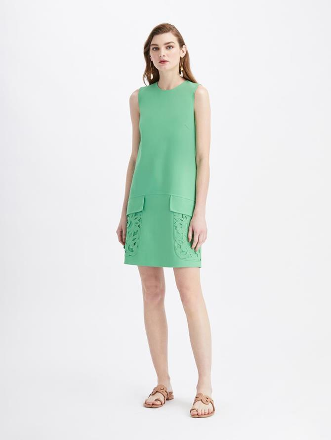 Stretch Wool Embroidered Pocket Day Dress Sage