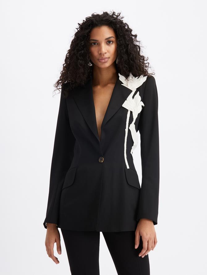 Single Breast Peak Lapel Jacket Black