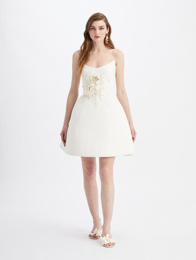 Mini Strapless Embroidered Cocktail Dress