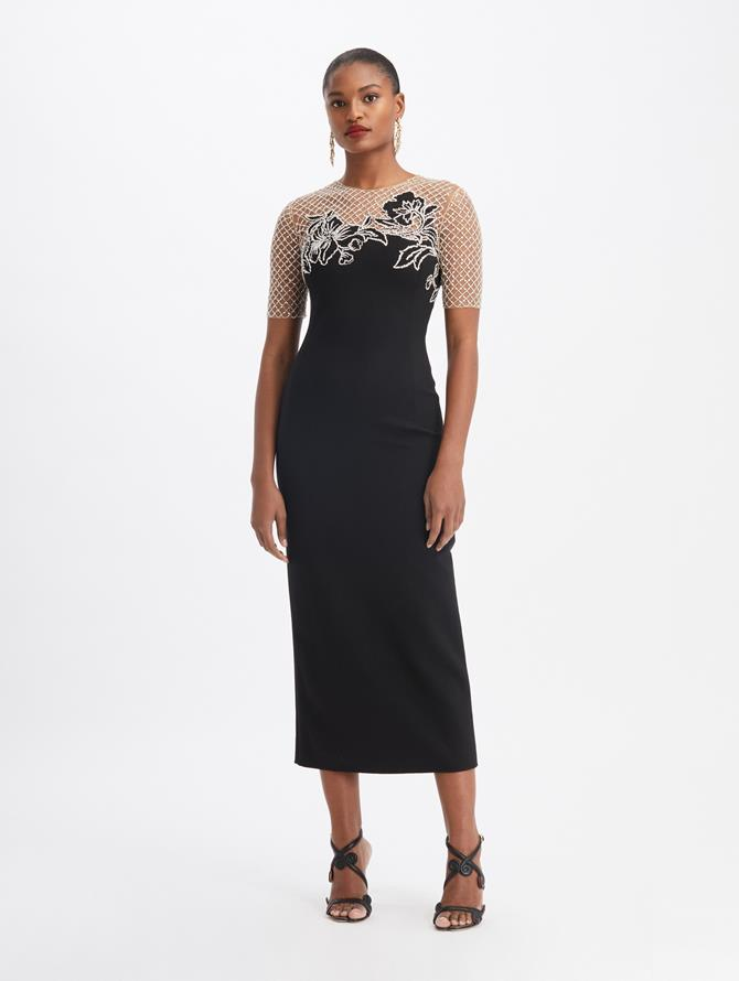 Double Stretch Wool Crystal-Embroidered Cocktail Dress