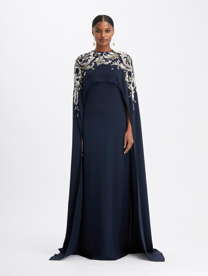 Silk Georgette Crystal Embroidered Illusion Tulle Caftan  Navy