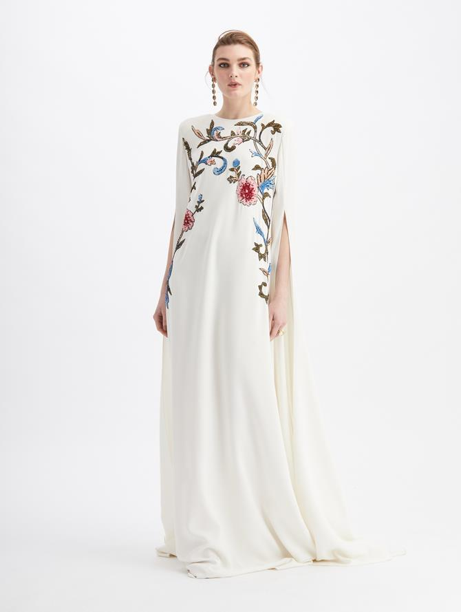 Silk Georgette Sequin Embroidered Caftan Ivory