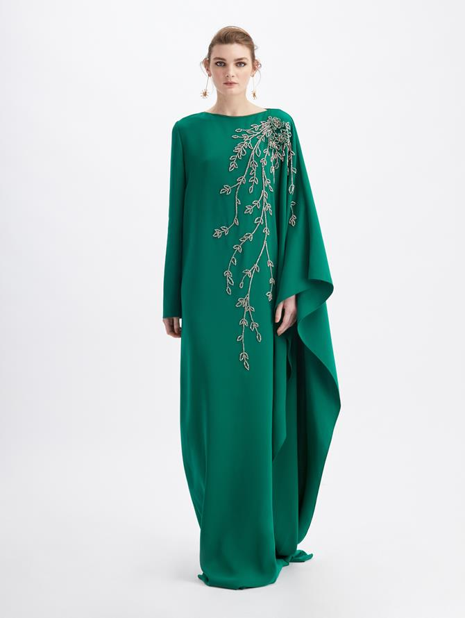 Silk Georgette Crystal Leaf Caftan Evergreen