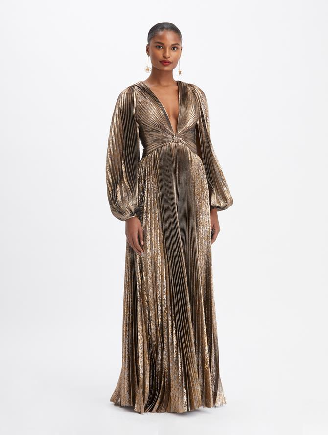Lamé Plissé V-Neck Twist Gown Dark Gold