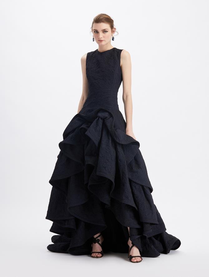 Cloqué Ruffle Skirt Gown  Navy