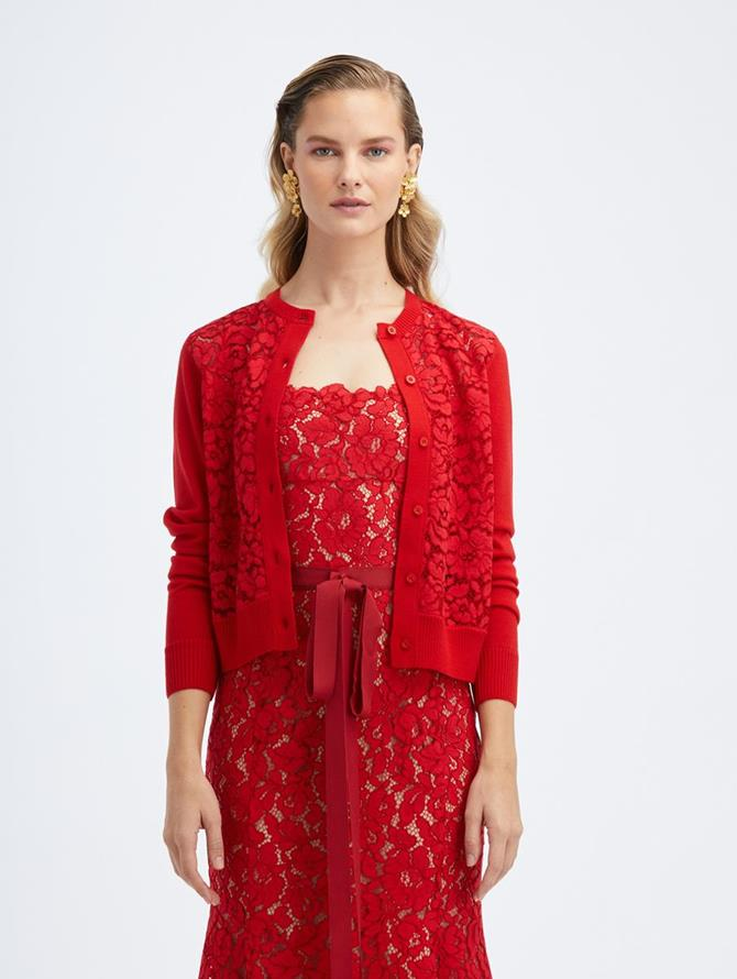 Lace Cardigan Cherry