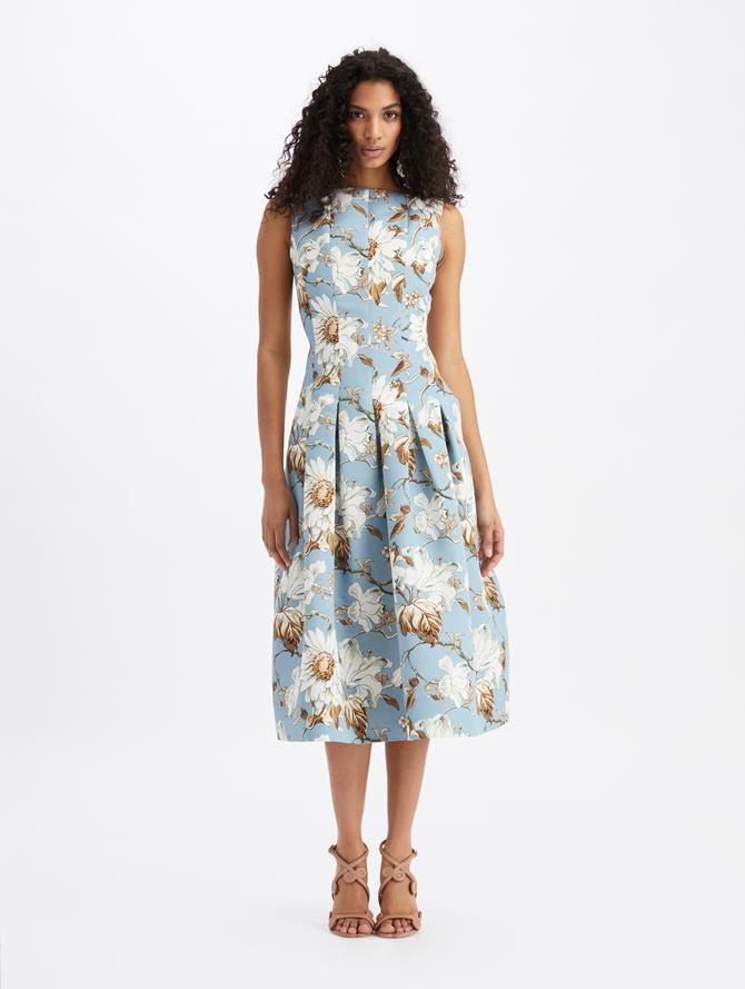 Iris and Daisy Vine Sleeveless Midi Dress French Blue