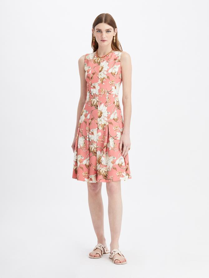 Daisy and Vine Pleated Crepe Dress Sorbet