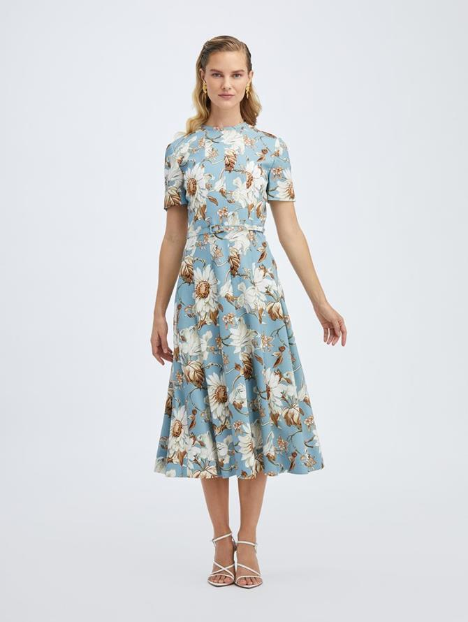 Daisy and Vine Crepe Short Sleeve Midi Dress