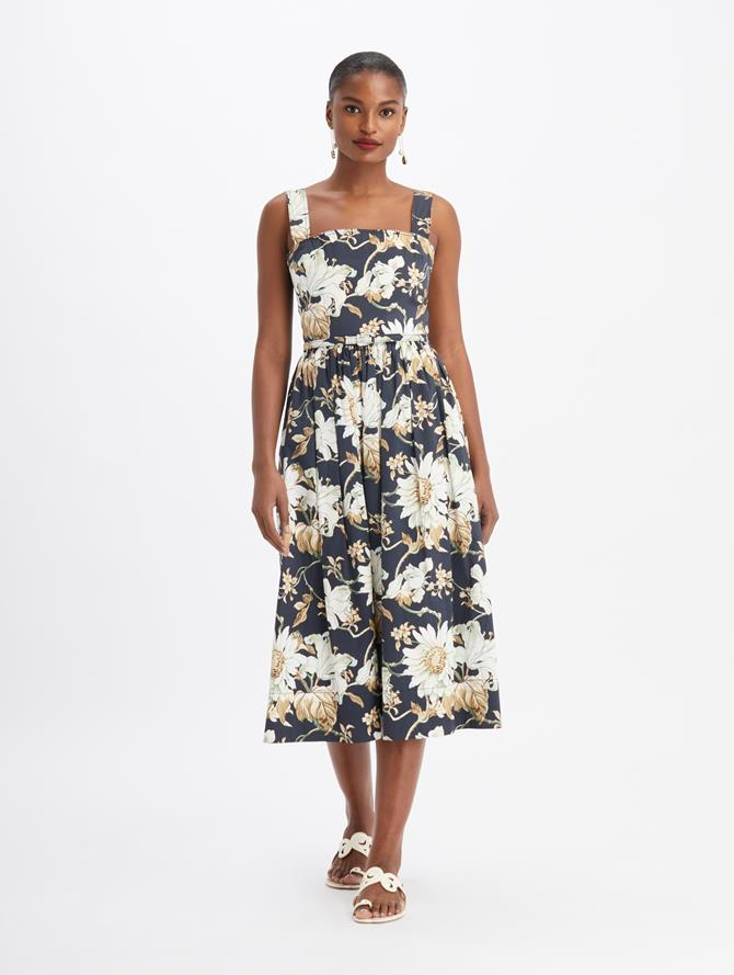 Iris and Daisy Vine Sleeveless Midi A-Line Dress  Navy