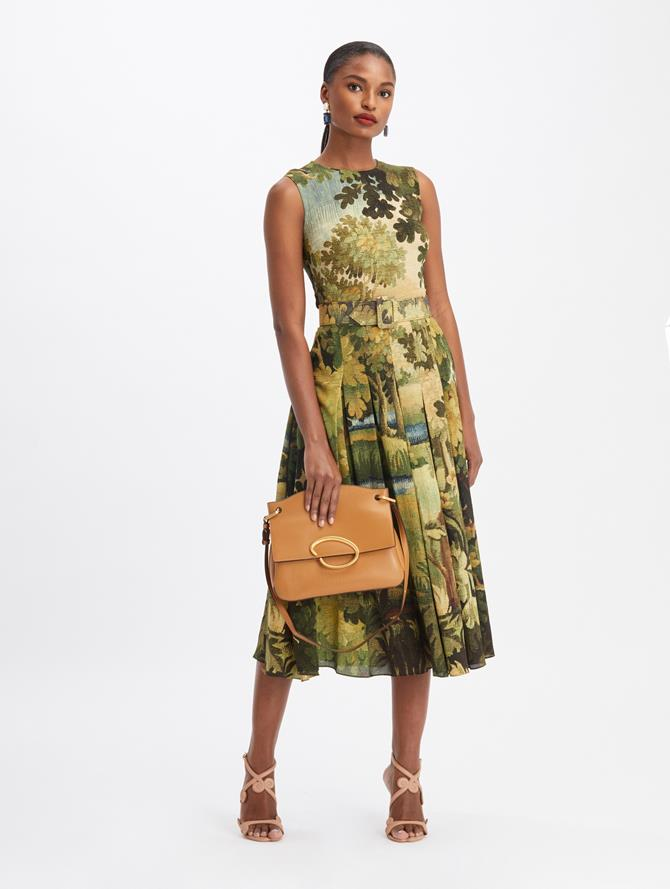 Sleeveless Landscape Midi Day Dress  Hunter Multi
