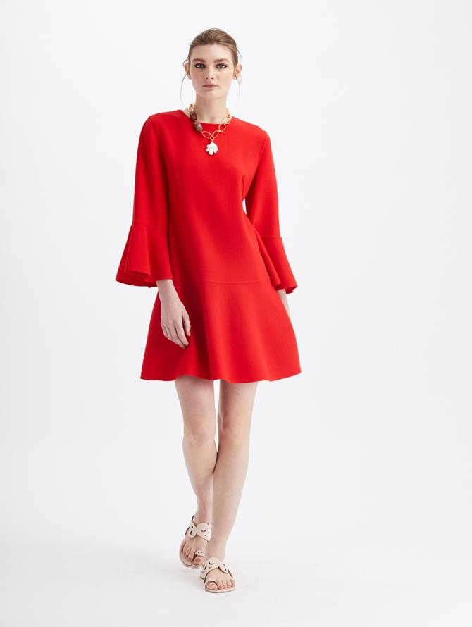 Stretch Wool Long Sleeve Drop Waist Dress  Cherry