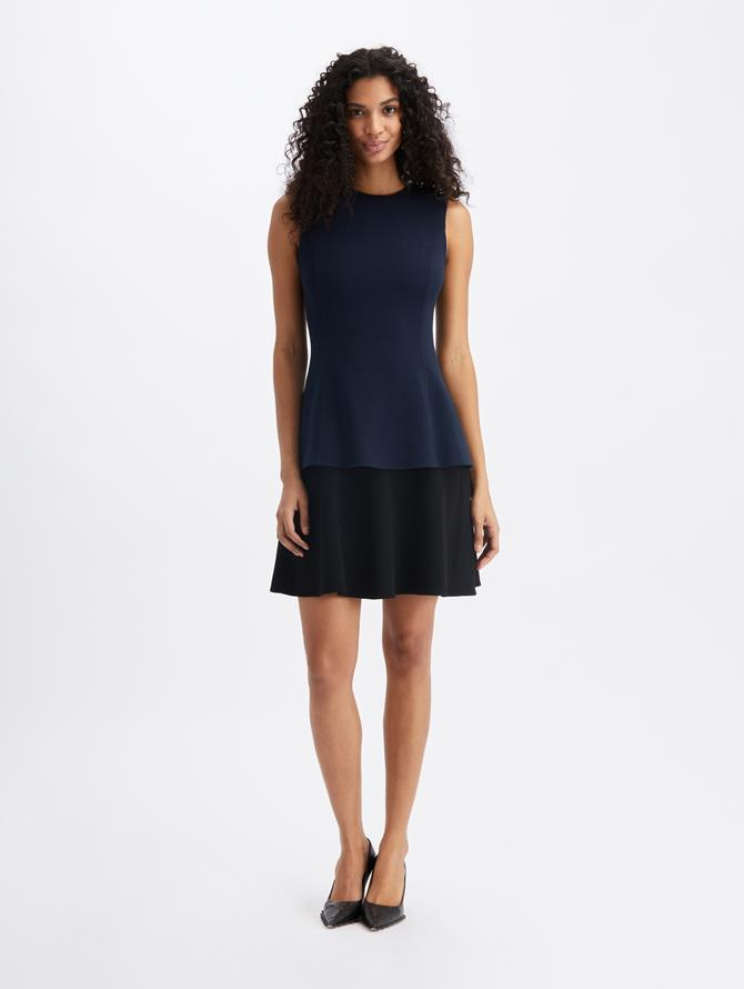 Wool Crepe Ruffle Dress  Navy/Black