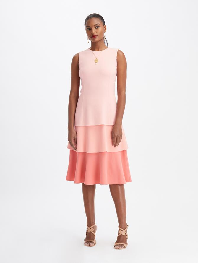 Wool Crepe Tiered Midi Dress Light Pink