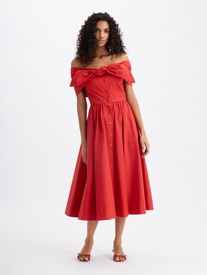 Off Shoulder Tie Midi Dress Cherry