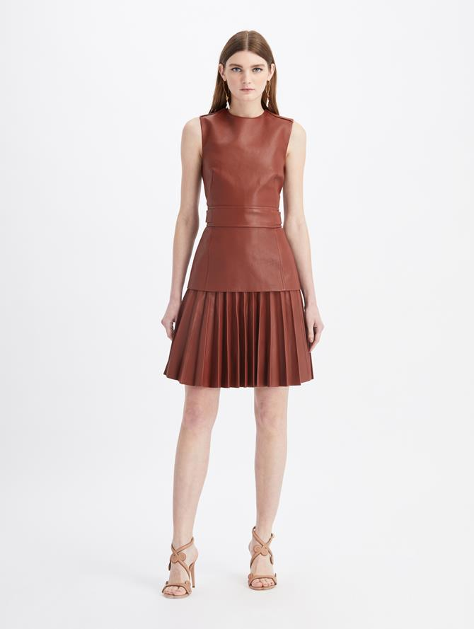 Leather Pleated Mini Dress Rust