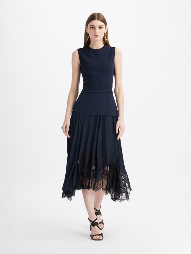 Stretch Wool Midi Lace Day Dress Navy